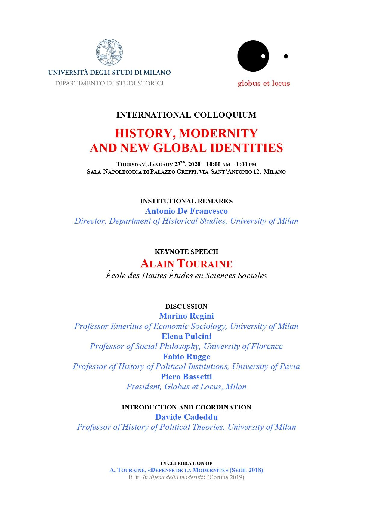 History, modernity and new global identities